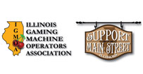 logo for Illinois gaming machine Operators Association and logo for Support Main Street Illinois